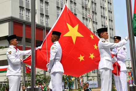 第18届亚运会中国体育代表团升旗仪式...