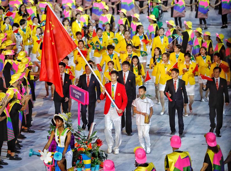 里约奥运会开幕式运动员入场仪式上中国代表团入场
